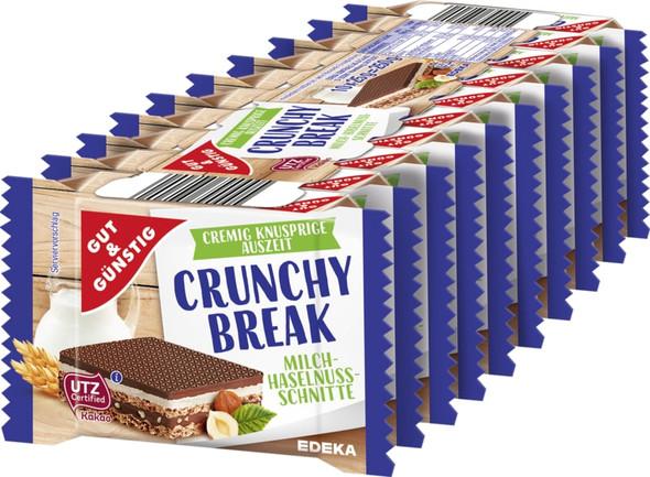 Gut & Gunstig Crunchy Break Milch Haselnuss-Schnitte (10x25g)