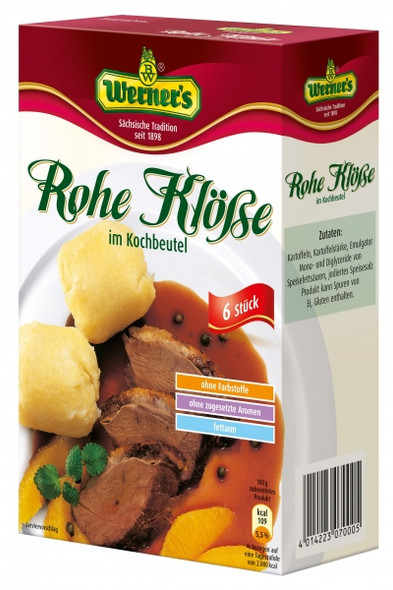 Werners Rohe Klosse Potato Dumplings (6) boiling bags 200g