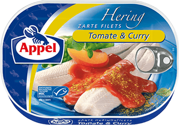 Appel Herring Fillets in Tomate & Curry 200g