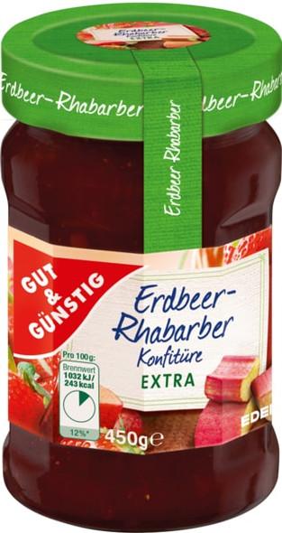 Gut & Gunstig Erdbeer-Rhabarber Jam  450g