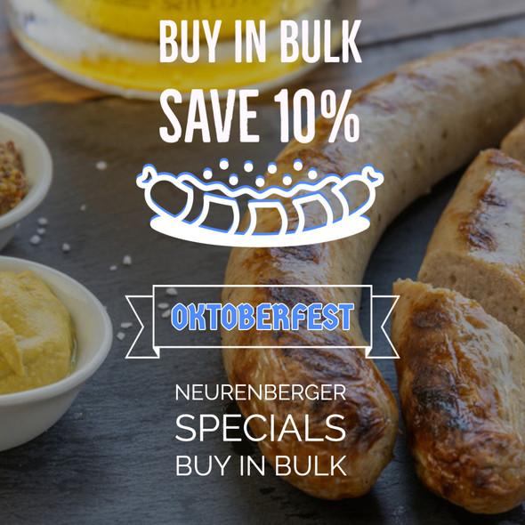 Bratwurst (Nuernberger) (15) per 5 lb. Bulk