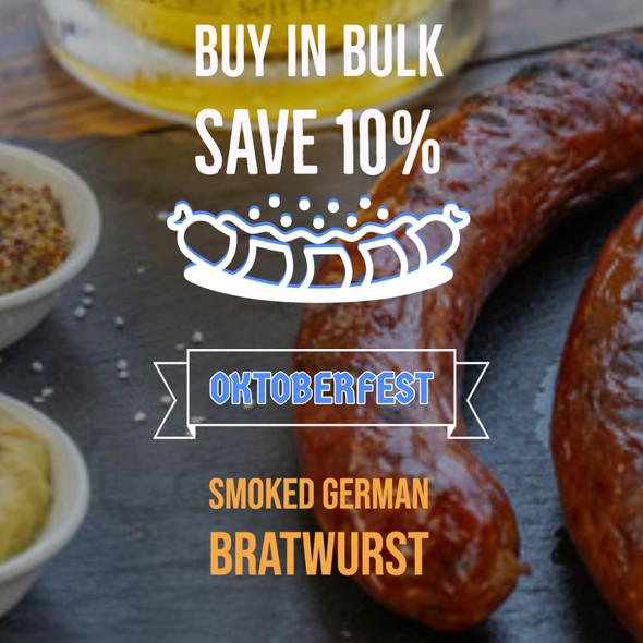 Smoked German Bratwurst (15) per 5 lb. (Bulk Smoked)