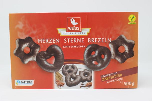 Weiss Dark Chocolate Herzen Sterne Brezeln Zarte Lebkuchen (gingerbread mini pretzels)