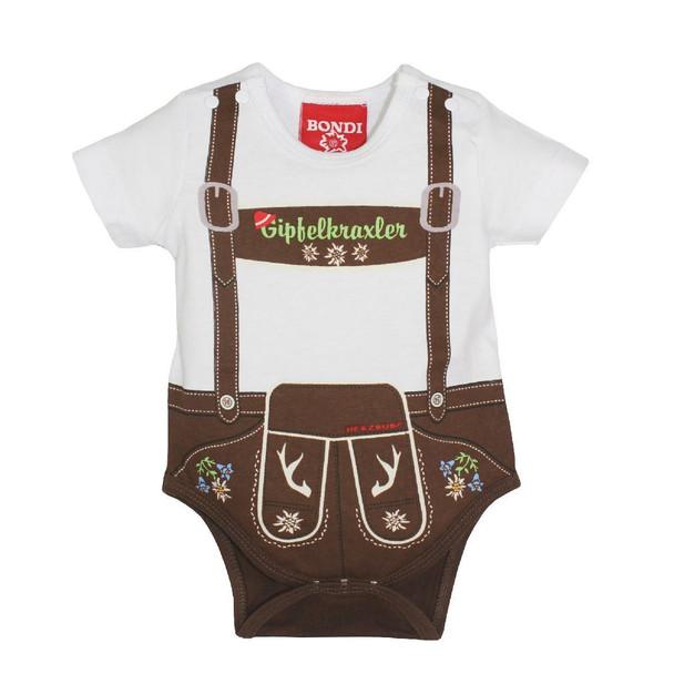 Baby Onesie Body 'Suspenders' Brown