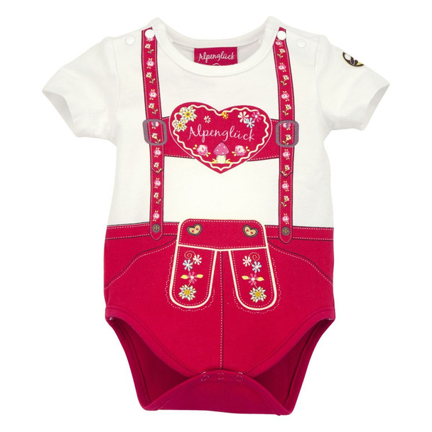 Baby Onesie Body 'Suspenders' Heart Red