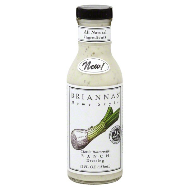 Product description Brianna's Classic Buttermilk Ranch Dressing is not only all natural, but it brings a whole new standard of ranch taste to your table. This rich and creamy dressing, made with only the finest natural ingredients is the only ranch worthy to wear the Brianna's brand. All naturally good, all the best to you. No artificial anything added. No MSG. Excellent source of vitamin E.  Preparation instructions Shake well for best taste. Refrigerate after opening.  Ingredients Canola Oil, Water, White Vinegar, Buttermilk Powder, Sugar, Egg Yolks, Salt, Garlic Puree (Garlic, Citric Acid), Apple Cider Vinegar, Natural Flavors, Onion Powder, Lactic Acid, Lemon Juice Concentrate, Dried Green Onions, Mixed Tocopherols (Antioxidant - Vitamin E), Spices, Dried Dill, Xanthan Gum.
