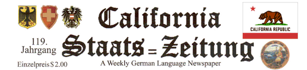 California Staats=Zeitung Newspaper