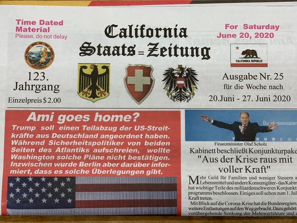 California Staats=Zeitung Newspaper