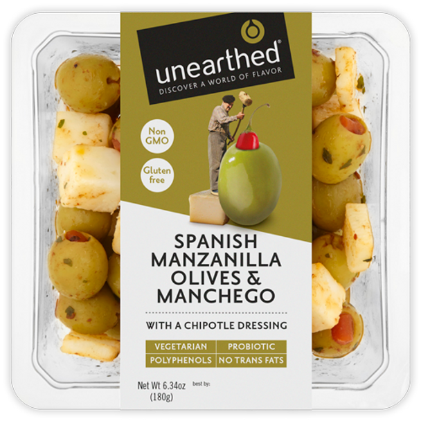 Unearthed Spanish Manzanilla Olives & Manchego 6.7 oz (Refrigerated)