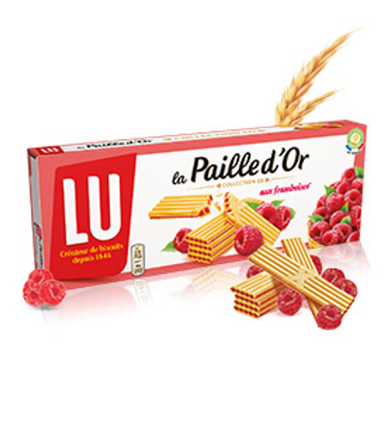A delicate wafer with an inimitable crispness and a heart rich in raspberries grown in the sun. The Raspberry Gold Straw, 170g, comes in 4 sachets of 12 cookies to take your favorite raspberry wafer wherever you want.
