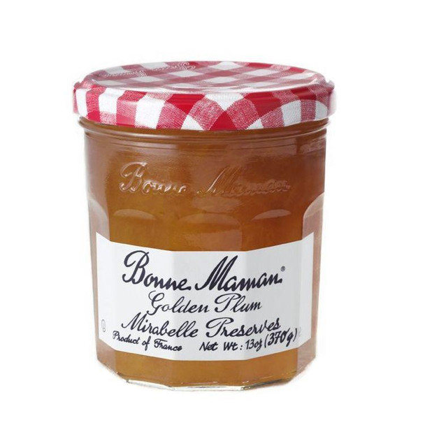 Bonne Maman Golden Plum Mirabelle Preserve 13oz 370g   Bonne Maman Golden Plum Mirabelle Preserves, 13 oz 6 per case. The newest flavor of Bonne Maman Preserves, Golden Plum Mirabelle, is made from sweet, full-flavored yellow plums grown exclusively in the Lorraine region of France. Made with 100 percent all-natural ingredients, there are no artificial flavors or high fructose corn syrup to interfere with the plums unique flavors. A delicious sweetness unlike any other makes our Golden Plum Mirabelle perfect for treats of all kinds. This months Golden Harvest feature has much more on what makes these golden-hued preserves special, including a variety of fabulous recipes that really show off its versatility. Wheat Free, Low Carb, Dairy Free