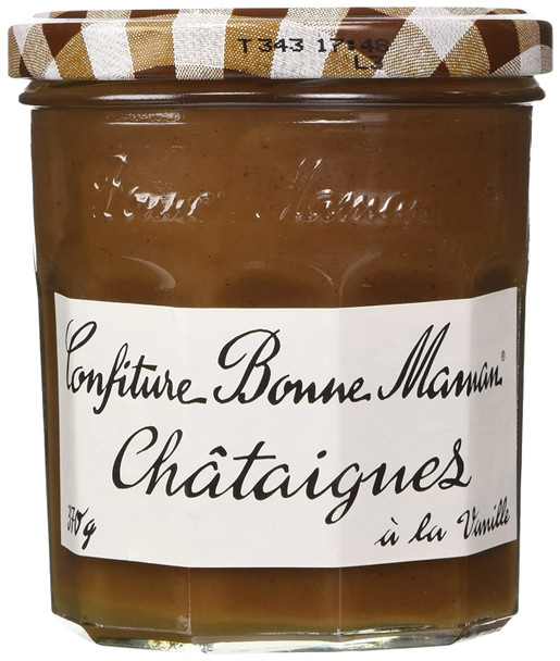 Confiture Bonne Maman Châtaignes 13oz 370g   This delectable jam, also known as chestnut spread, goes by various names in French: confiture de marrons, confiture de chataignes, and creme de marrons. Practically unknown in the United States, it is a favorite in France. Made like any jam by cooking fruit with sugar and in this case vanilla, it is excellent on toast. And because of its thick and smooth texture, it also goes well with ice cream, yogurt, or fromage blanc. Some use it in place of chestnut puree to make a Mont Blanc. Of course, you may also find yourself eating straight from the jar! Once widespread in France, chestnut trees, or chataigniers, are now becoming scarce as land has been given over to more profitable crops like grapes. Today the number of regions producing chestnuts has dwindled - Ardeche, Corsica, and Limousin are the principal producers of chestnuts today.