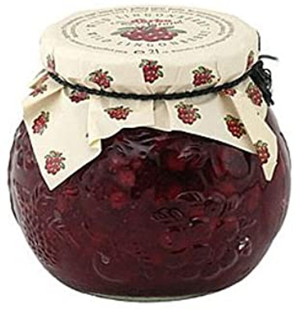 Wild Lingonberries Fruit Compote - 21 oz/600 gr by D'arbo, Austria. Cooking fruit with water and sugar and serving it as a garnish with a dessert or on its own may be a bit old-fashioned, but the diet- and health-conscious know perfectly well that boiled fruit is much more digestible than raw fruit and that most vitamins and minerals are retained when cooked for times. Your fine gourmet foods & home goods at Apilcina !