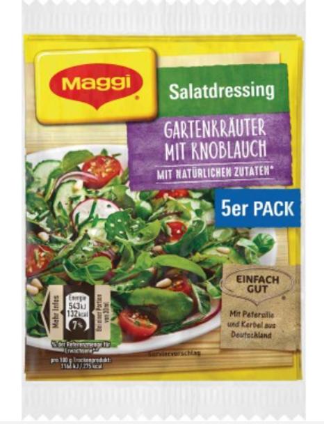 Maggi Salatdressing Gartenkrauter Mit Knoblauch (5 pack) (8g)