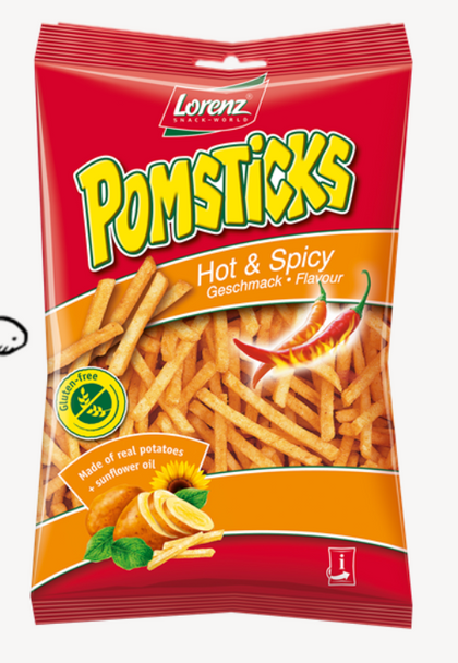 Lorenz Pomsticks Hot & Spicy  3.53oz (100g)
