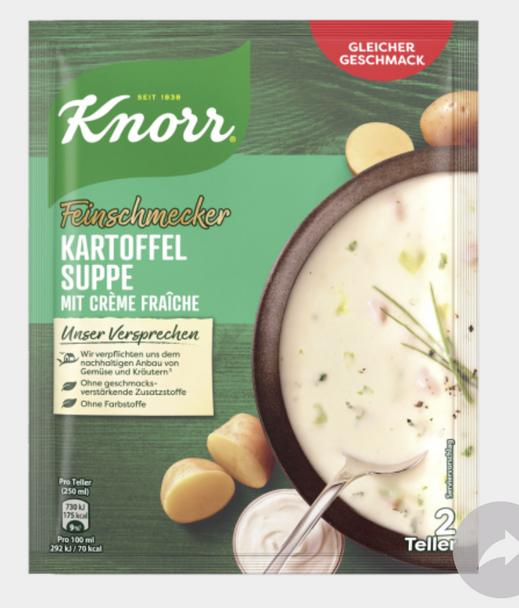 KNORR Feinschmecker Kartoffelsuppe mit Crème fraîche 70g
