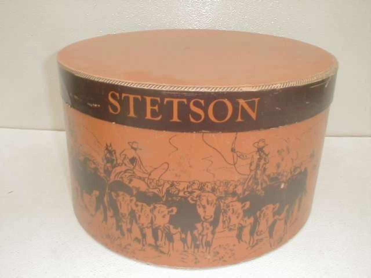 2973f1d403cdec A vintage Stetson cowboy hat box with western theme design. - Antique  Mystique