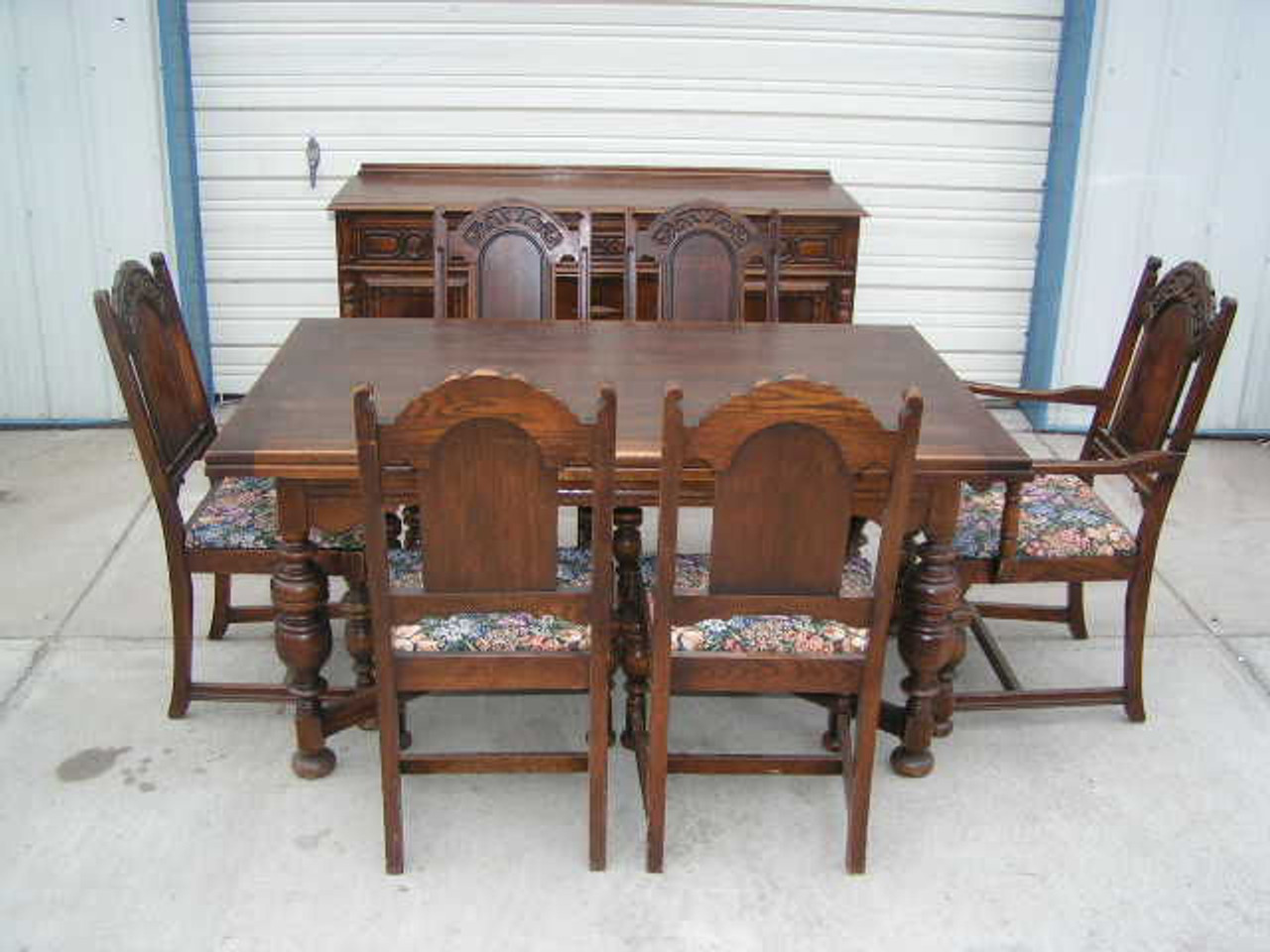 This Great Eight Piece Antique Oak Refractory Dining Table Chairs