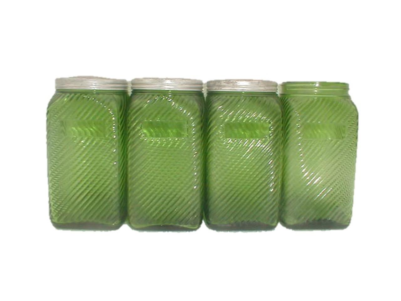 Original Old Forest Green Depression Glass Kitchen Canister Set