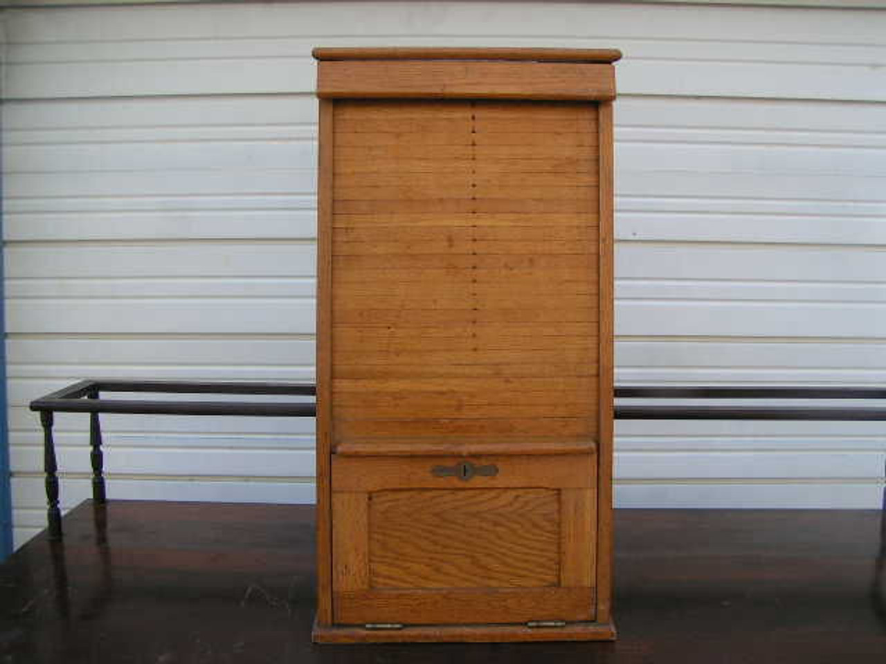 This Antique Railroad Ticket Cabinet Made Of Oak Has A