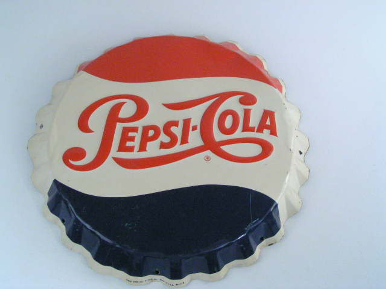 This is a guaranteed original vintage Pepsi-Cola bottle cap sign in  excellent condition made by the Stout Sign Co  of St  Louis that measures  19