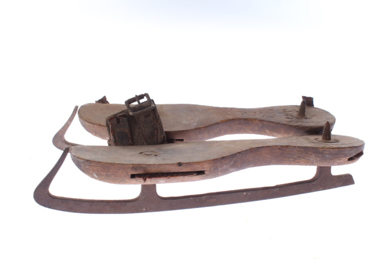 Rustic Antique Wooden Ice Skates