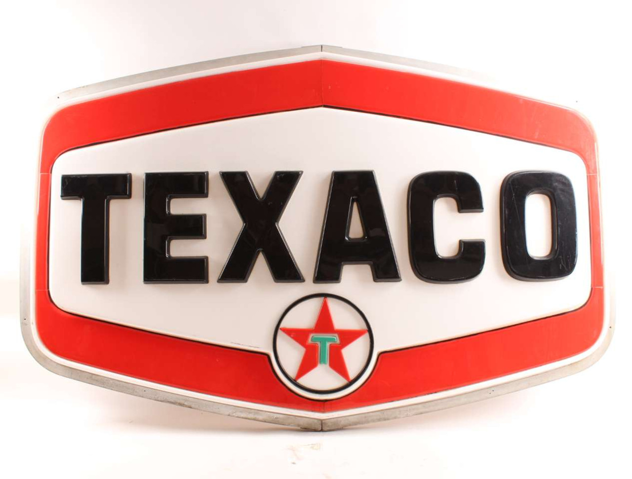 Large Old Vintage Texaco Gas Service Station Advertising Pole Sign