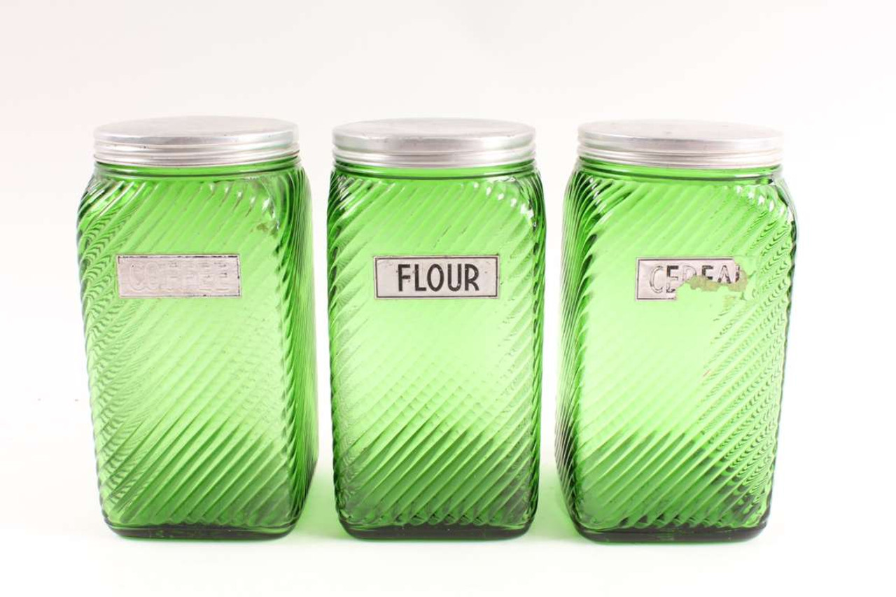 Old Vintage Forest Green Glass Kitchen Canister Three Jar Set Owens Illinois