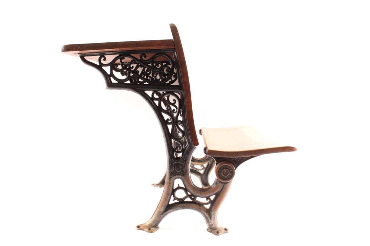 - Old Kids Wooden School Desk With Decorative Cast Iron Legs