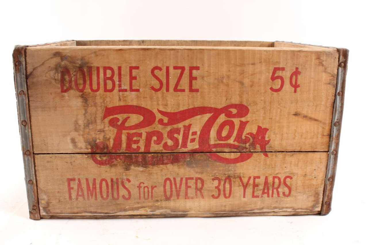 Rare Antique Pepsi Cola Double Size 5 Cent Wood Box Oberlin Kansas