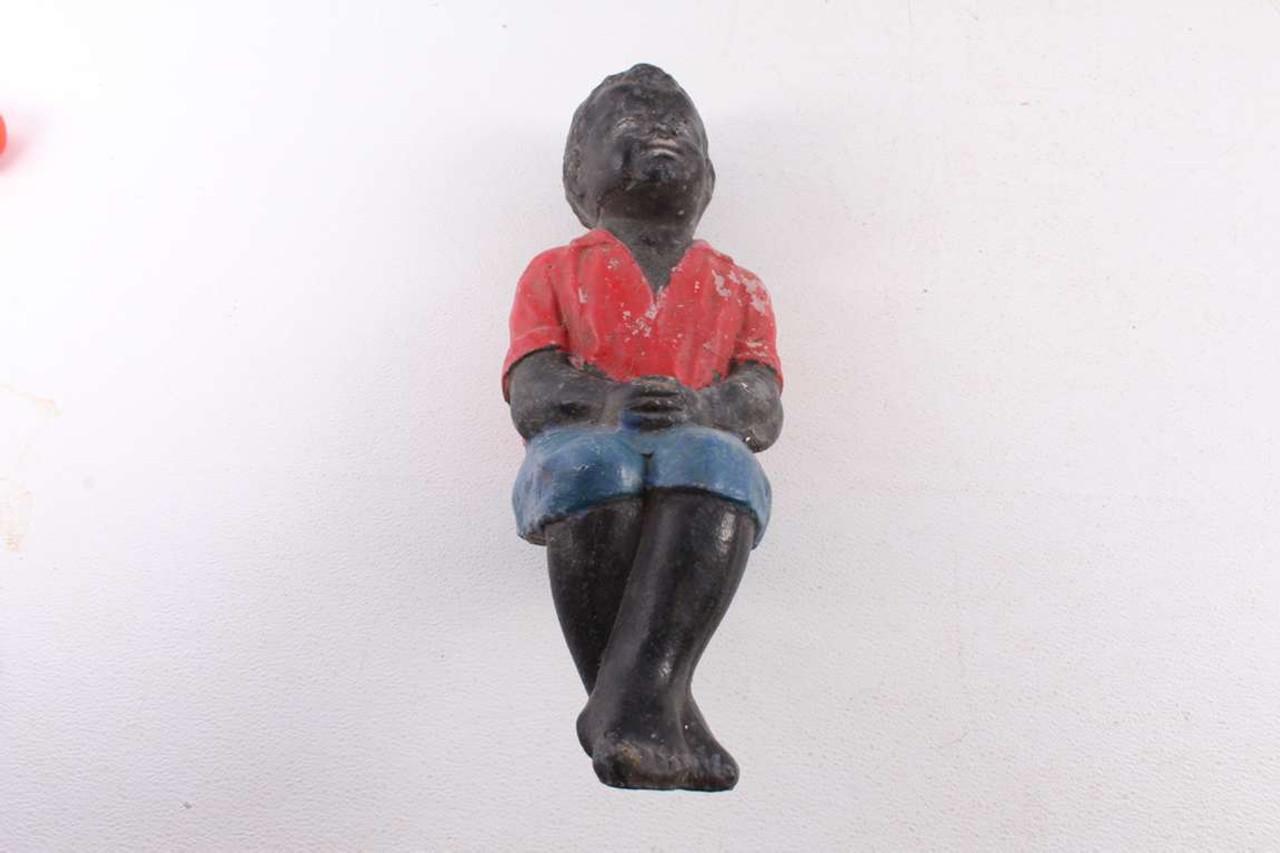 Vintage Black Americana Boy Fishing Statue Yard Garden Ornament