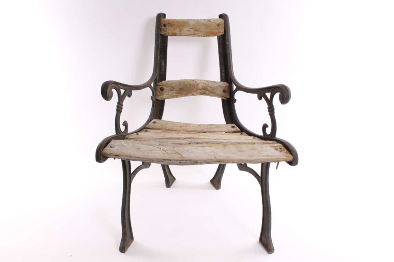 - Rustic Garden Cast Iron Chair With Wood Slats