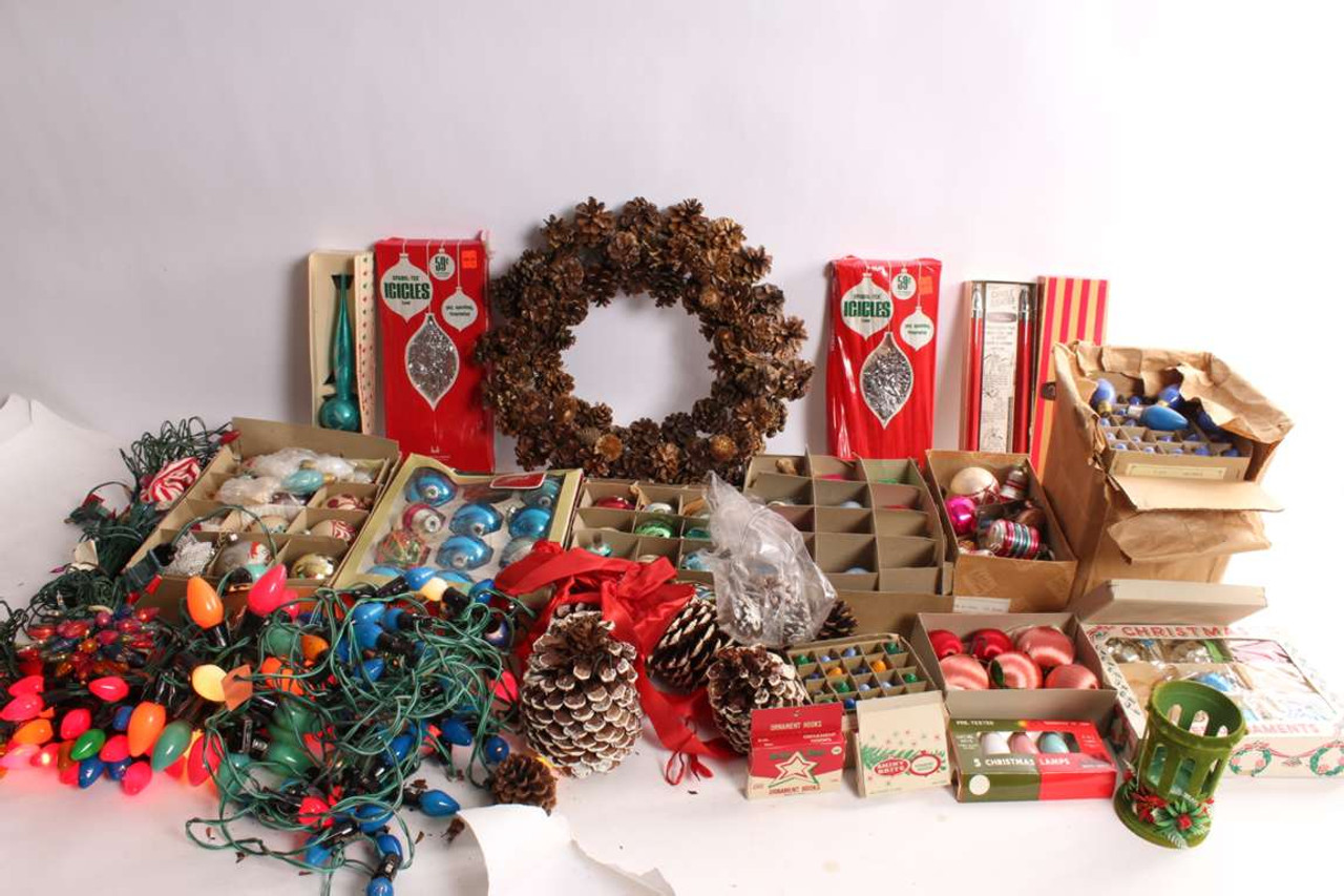 Large Vintage Christmas Decorations Assortment Lights Ornaments Bulbs