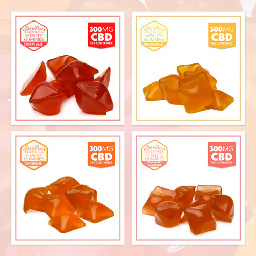CBD gummies made with full spectrum organic hemp and natural fruit flavors, sample pack, 300mg, for pain, anxiety, stress