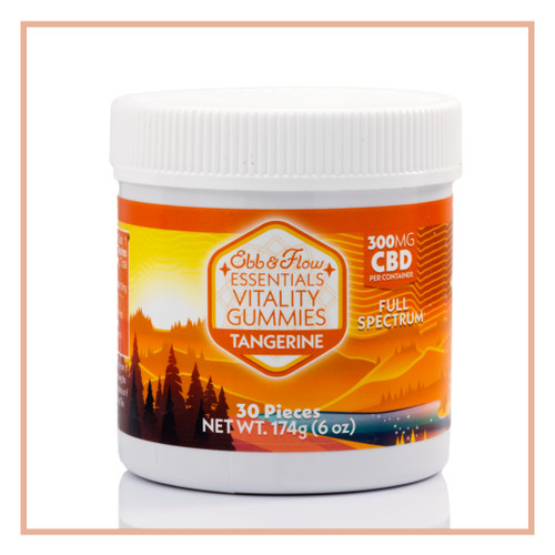 CBD gummies made with full spectrum organic hemp and natural tangerine flavor, 300mg, for stress relief