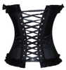 Back View of Black Corset Top, you can adjust your waistline by pulling in the center ribbons and work your way to a nice and comfortable fit.