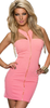 Stretchy pink mini dress with zipper front