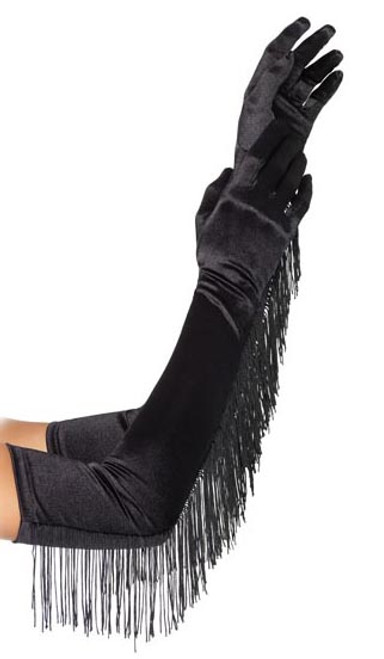 Black Extra Long Satin Gloves with Fringe