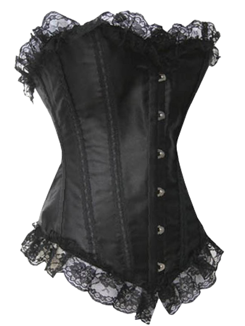Black Satin Corset with Lace Detail