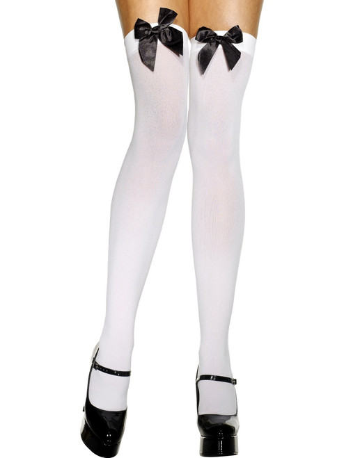 Super Cute Women's White Long Opaque Thigh High Stockings