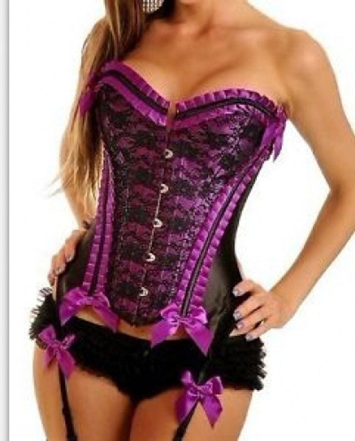 Purple Burlesque Corset with G-String