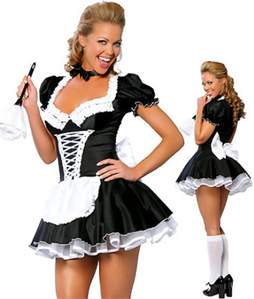 Women's French Maid Dress Costume available in Plus Sizes.