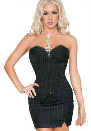 84e32abcc9f Plus Size Black Pinstripe Office Corset top and matching skirt-look ...
