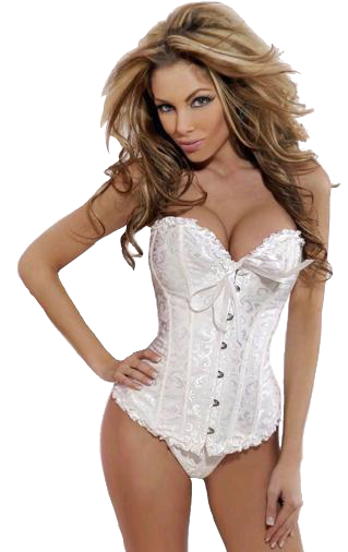 afc5ce0cf6e White Sweetheart Corset with Matching White Thigh High Stockings