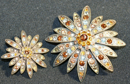 Vintage 2 Joan Rivers Brooches #115-1066 & #115-1088 W/ colored Stones