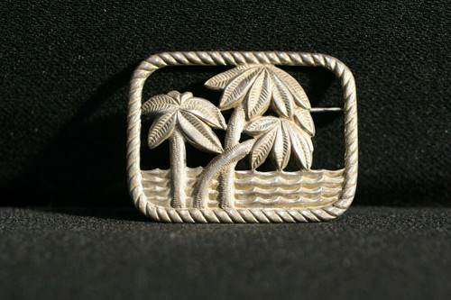 Vintage textured Sterling Silver Palm Trees & Ocean Large Brooch