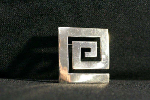 Pre-Owned Sterling Silver Meandros (Greek Key) Brooch / Pendant