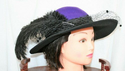 """Vintage Mr. Charles Women's Black/Purple Church Hat W/ Tulle/Feathers 21"""""""