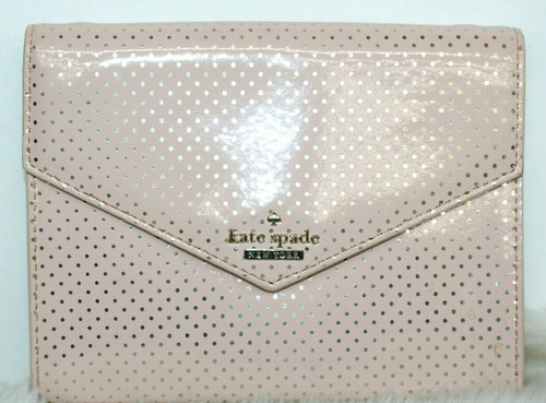 Pre-Owned Kate Spade Vinyl Crossbody in Blush &Gold Dots **Missing Strap