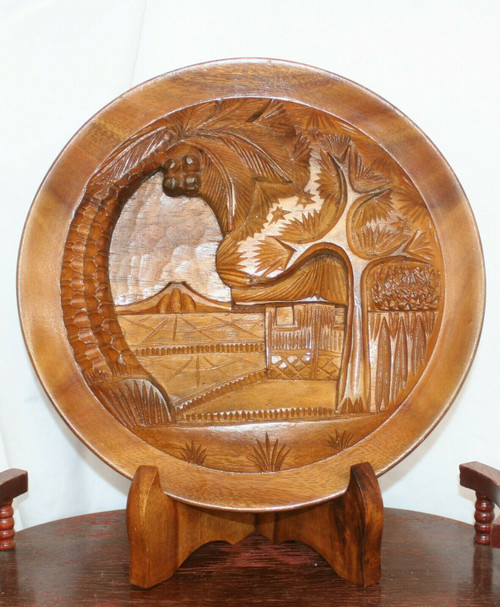 "12"" Hand Carved Monkey Pod Wood Plate Tropical Display of Hawaii W/Stand"